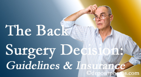 Aaron Chiropractic Clinic realizes that back pain sufferers may choose their back pain treatment option based on insurance coverage. If insurance pays for back surgery, will you choose that?