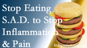 Fort Wayne chiropractic patients do well to avoid the S.A.D. diet to decrease inflammation and pain.