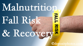 Aaron Chiropractic Clinic checks patients for fall risks which include nutritional status and malnutrition indicators.