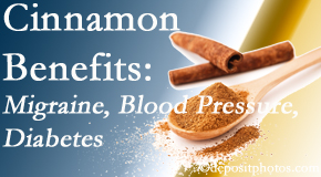 Aaron Chiropractic Clinic shares research on the benefits of cinnamon for migraine, diabetes and blood pressure.