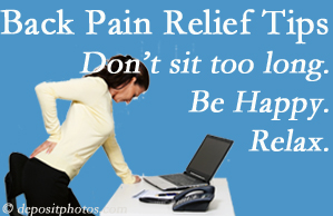Aaron Chiropractic Clinic reminds you to not sit too long to keep back pain at bay!