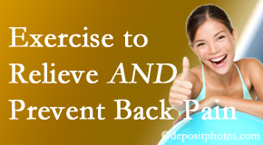 Aaron Chiropractic Clinic urges Fort Wayne back pain patients to exercise to prevent back pain and get relief from back pain.