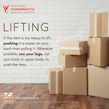 Aaron Chiropractic Clinic advises lifting with your legs.