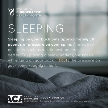 Aaron Chiropractic Clinic recommends putting a pillow under your knees when sleeping on your back.